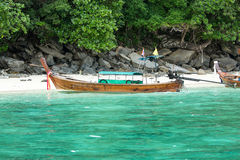 Traditional longtail boat in bay on Phi Phi Island, Krabi,Thailand, Phuket Royalty Free Stock Images