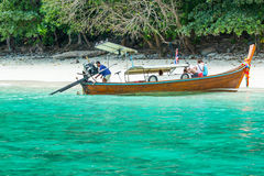 Traditional longtail boat in bay on Phi Phi Island, Thailand beach, Phuket Royalty Free Stock Image