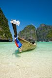 Traditional longtail boat in the famous Maya bay Stock Photo