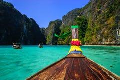 Traditional longtail boat in Maya bay on Koh Phi Phi Leh Island, Royalty Free Stock Image