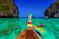 Traditional longtail boat in Maya bay,Phi Phi Leh Island,Thailand. Traditional longtail boat in Maya bay on Koh Phi Phi Leh Island, Krabi, Southern of Thailand Royalty Free Stock Images