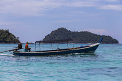 Traditional longtail boat of Moken (sea gypsy) at Surin island. Thailand Stock Photo