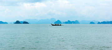Traditional longtail boat on the small islans panorama Royalty Free Stock Images