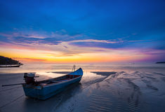 Traditional longtail boat at sunset on tropical island, Thailand. 1 Stock Image
