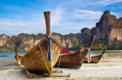 Longtail boats. Traditional longtail boats in bay of Phi-phi island, Thailand royalty free stock image