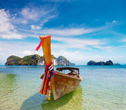 Longtail boat on a tropical island Royalty Free Stock Photography