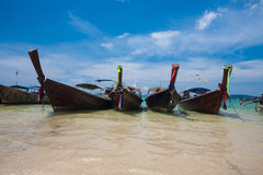 Traditional longtail boats. On the beach, Thailand Royalty Free Stock Image