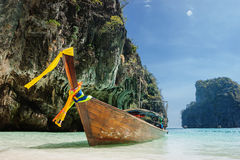 Traditional longtail boats in the famous Maya bay of Phi-phi Leh Stock Photography