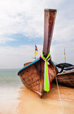 Traditional longtail boats on the Railay beach Royalty Free Stock Photos