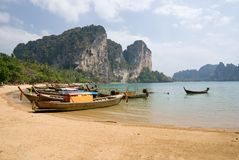 Traditional longtail boats on the Tonsai beach Stock Photography