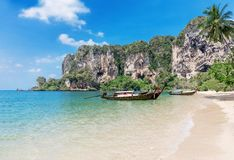 Traditional longtail boats, tropical sea Thailand Stock Photography