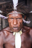 Traditional look in Baliem Valley, in Papua Indonesia. Portrait of a man dressed up with the local traditional outfit, in Papua Indonesia, in the Baliem Valley royalty free stock image