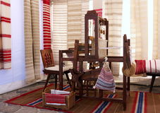 Traditional loom. And woven textiles royalty free stock photography