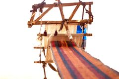 Traditional loom and homespun fabric Royalty Free Stock Photos