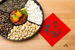 Traditional Lunar new year snack tray and chinese calligraphy, m Stock Photos