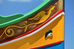 Traditional luzzu boat detail, Malta Stock Photo