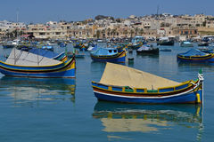 Traditional luzzu boats in Malta Royalty Free Stock Photos