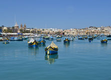 Traditional luzzu boats in Malta Stock Photography