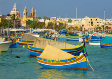 Traditional Luzzu boats at Marsaxlokk market - Malta Royalty Free Stock Images