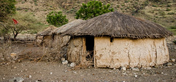 Traditional maasai hut made of cow excrement Royalty Free Stock Photo
