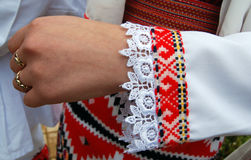 Traditional macedonian costume, details. Picture of a Traditional macedonian costume, details stock images