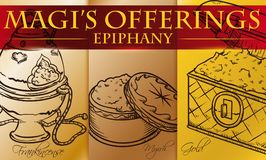 Traditional Magi Offerings in Hand Drawn Style for Epiphany, Vector Illustration. Banner in hand drawn style with traditional Magi offerings to celebrate Royalty Free Stock Photo