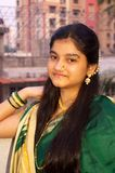 Traditional Maharashtrian Girl-8. A portrait of a traditionally dressed Indian teenager showing her beauty Royalty Free Stock Image