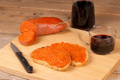 Sobrasada spread with wine Stock Photography