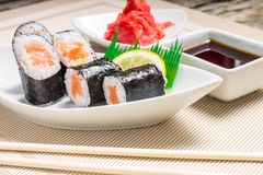 Traditional Maki sushi served with wasabi and ginger Stock Photo
