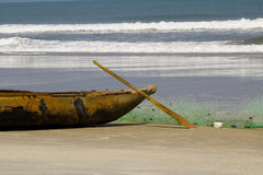 Traditional malagasy boat- canoe, africa Royalty Free Stock Images