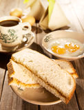 Traditional Malaysian breakfast kaya butter toast. Traditional Chinese Malaysian style breakfast, kaya butter toast, nasi lemak and boiled eggs with coffee Stock Photo