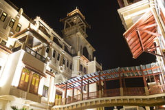 Traditional Malaysian Buildings at Night Royalty Free Stock Photos
