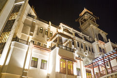 Traditional Malaysian Buildings at Night Stock Photo
