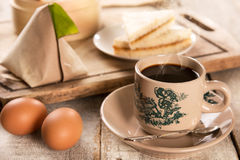 Traditional Malaysian Chinese coffee and tasty breakfast Stock Images