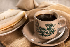 Traditional Malaysian Chinese dark coffee and breakfast Royalty Free Stock Image