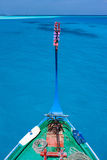 Traditional maldivian boat dhoni. Close up of a traditional maldivian boat dhoni in a tropical ocean Stock Images