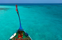 Traditional maldivian boat dhoni. In a tropical ocean Royalty Free Stock Images
