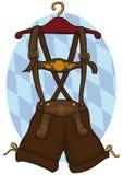 Traditional Male Lederhosen in a Hanger for Oktoberfest Celebration, Vector Illustration. Lederhosen traditional German male clothes in a hanger for Oktoberfest Royalty Free Stock Photography