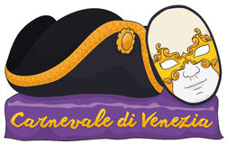 Traditional Male Volto Mask and Tricorn for Carnival of Venice, Vector Illustration Royalty Free Stock Image