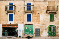 Traditional Maltese architecture. In Valletta, Malta Royalty Free Stock Image