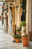 Traditional Maltese architecture. In Valletta, Malta Stock Photo