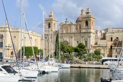 Traditional Maltese architecture and yachts in the harbour of Va. Lletta, Malta Stock Photography
