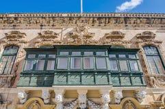 Traditional Maltese balcony in Valletta, Malta Royalty Free Stock Photo