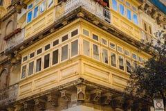 Traditional maltese balcony. Maltese wooden balconies in Valletta, Malta Royalty Free Stock Image