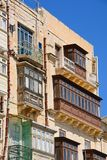 Traditional Maltese buildings, Valletta. Traditional buildings with balconies, Valletta, Malta, Europe Royalty Free Stock Images