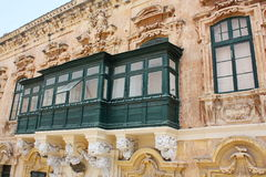 Traditional Maltese closed wooden balconies Malta.  Stock Images