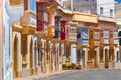 Traditional colorful wooden balconies, Malta. The traditional Maltese colorful wooden balconies in Sliema, Malta Royalty Free Stock Photos