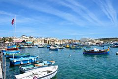 View of Marsaxlokk harbour and town, Malta. Stock Images