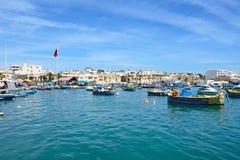 View of Marsaxlokk town and harbour, Malta. Stock Image