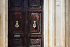 Traditional maltese door. S with vintage door knockers Royalty Free Stock Photo